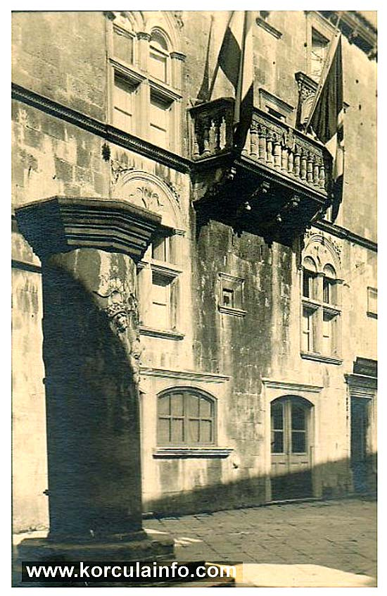 Balcony of the palace with flags (1920s)