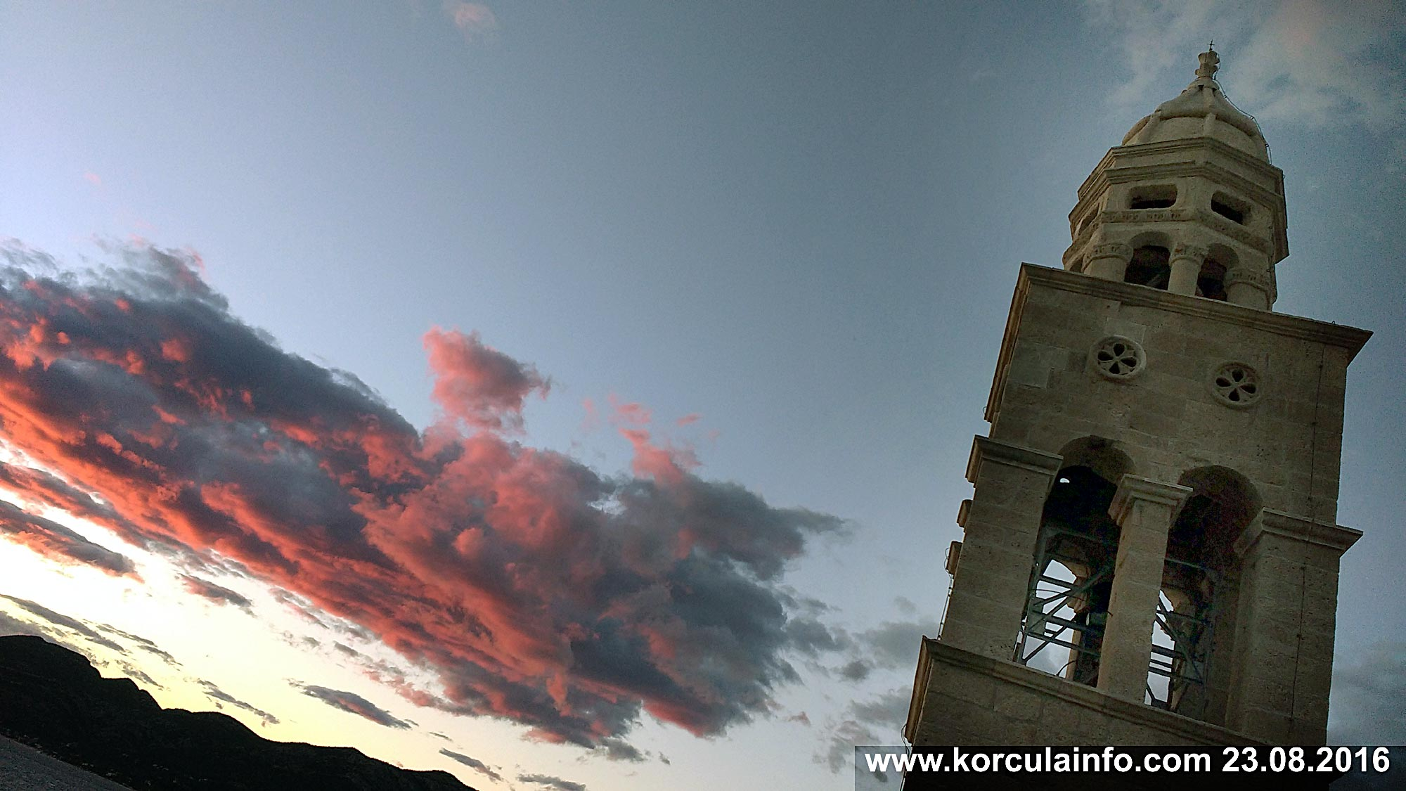 Sveti Nikola Church Tower with cloud in the background