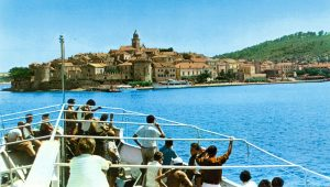 Arrival in Korcula by ferry in 1970s