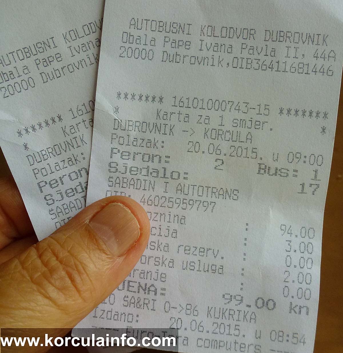 Bus tickets from Dubrovnik to Korcula 20.06.2015 - 99 Kuna each, one way
