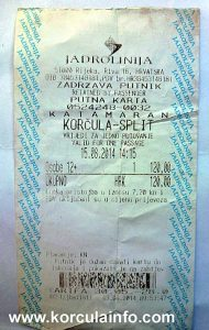 Catamaran ferry ticket Korcula-Split