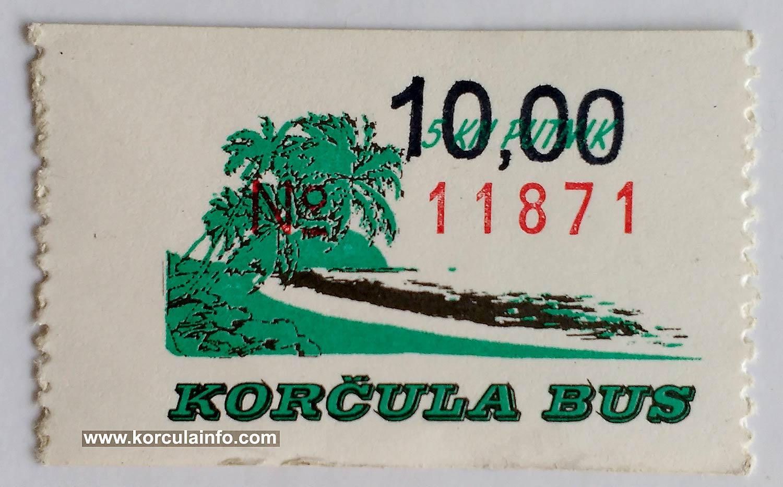 Bus Ticket Korcula (2002)