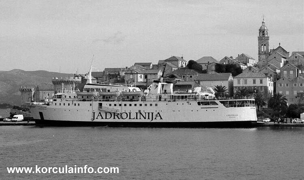 Ferry Liburnija in Korcula Old Town port (1980s)