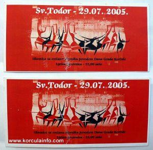 Tickets for Moreska sword dance performance @ Sveti Todor Day Celebration 29.07.2005
