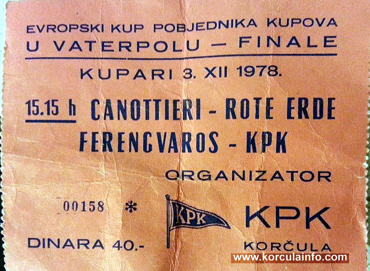 Finals, LEN Cup Winners' Cup , KPK - Ferencváros, 1978 (ticket) / Finale kupa pobjednika kupova Europe 1978