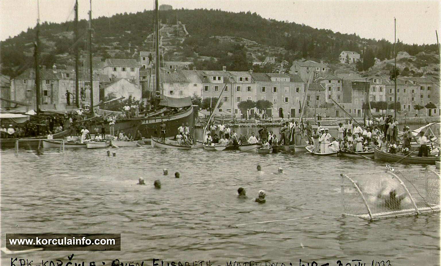 Water Polo match KPK vs HMS Queen Elizabeth in Korcula in 1933 Water Polo match KPK vs HMS Queen Elizabeth in Korcula - 30.07.1933