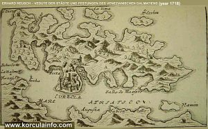 Curzola (Korcula) Map from 1718