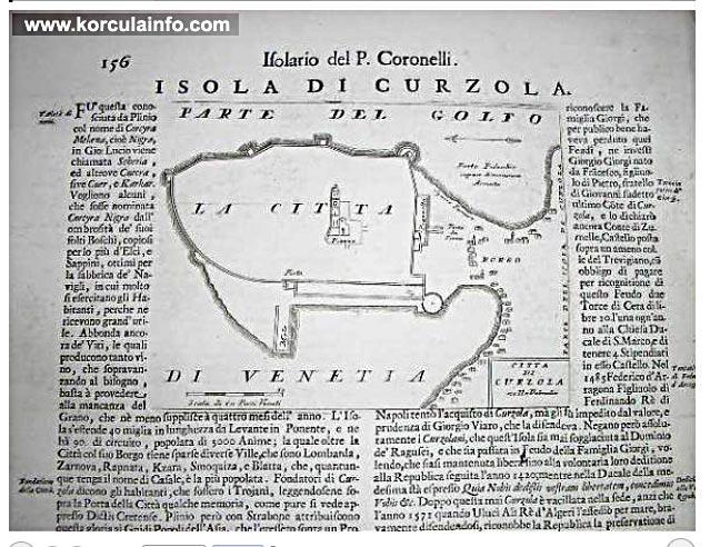 Vincenzo Maria Coronelli: Isolario dell Korcula, Italy 1690