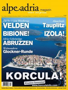 Korcula at the Cover of Alpe Adria Magazin Nr . 25 /2016