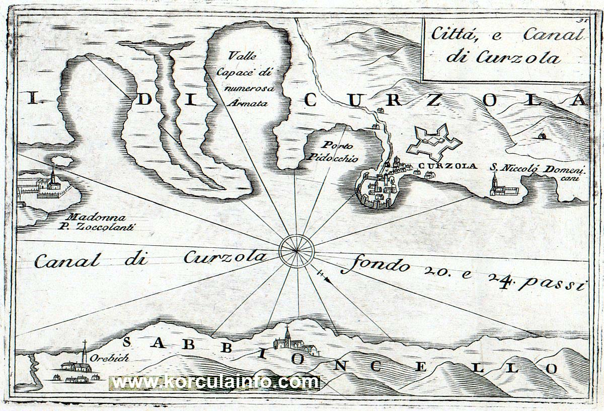 Korcula Map from 1708