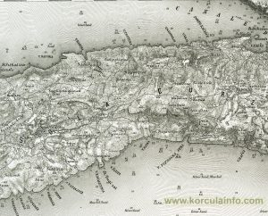 Map from 1877 - Pupnat, Racisce, Cara, Smokvica - Korcula Island