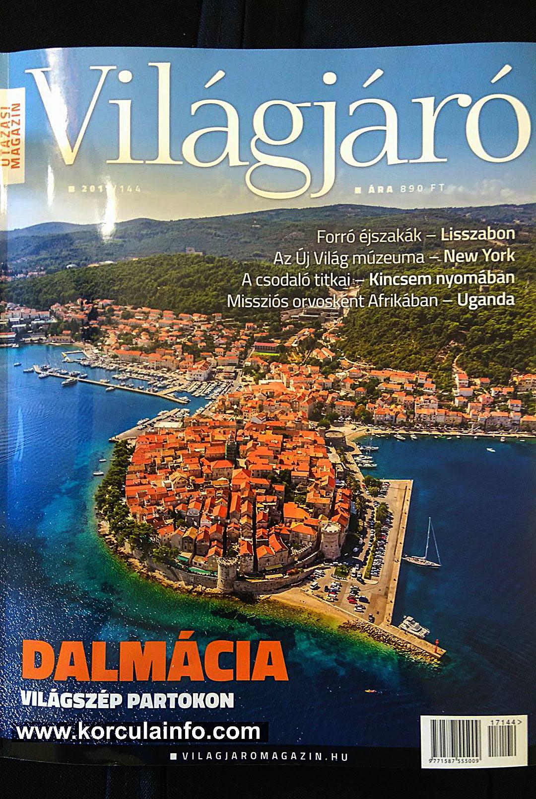 Korcula at the Cover of Vilagjaro Magazine No 144 / July 2017