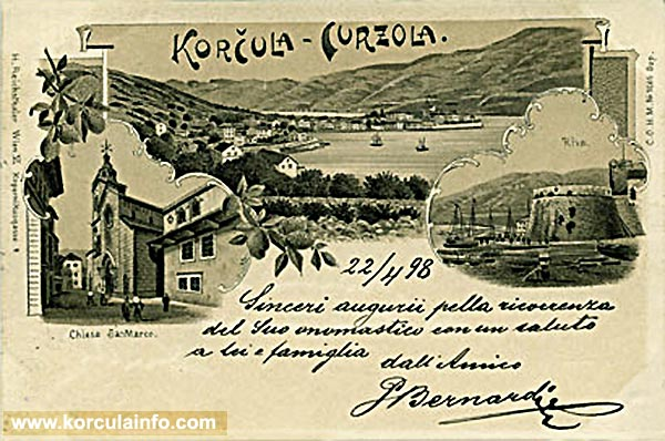 Postcard from Korcula sent in 1898
