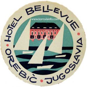 Old Luggage Label Orebic Hotel Bellevue