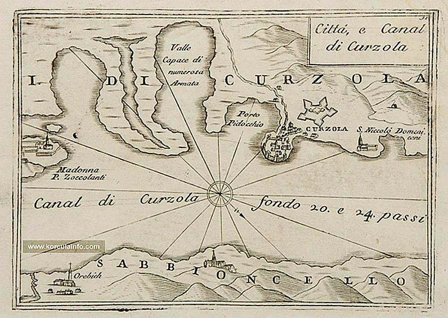 Città e Canal di Curzola - old Map of Korcula