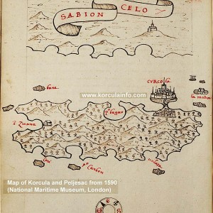 Map of Peljesac and Korcula from 1590