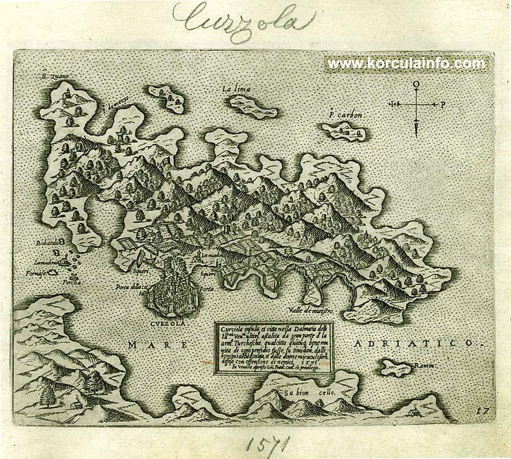 Map - Curzola insulla en citta della Dalmazia