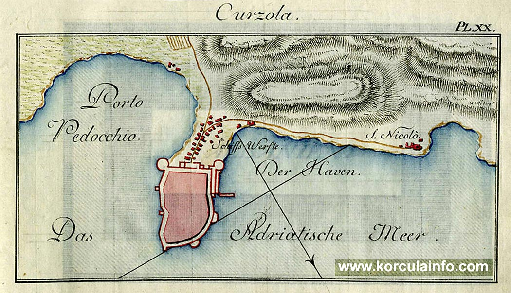 Map of Curzola from 1900s