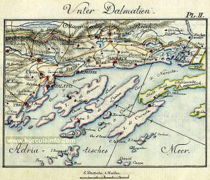 Map Unter Dalmatien with Korcula island