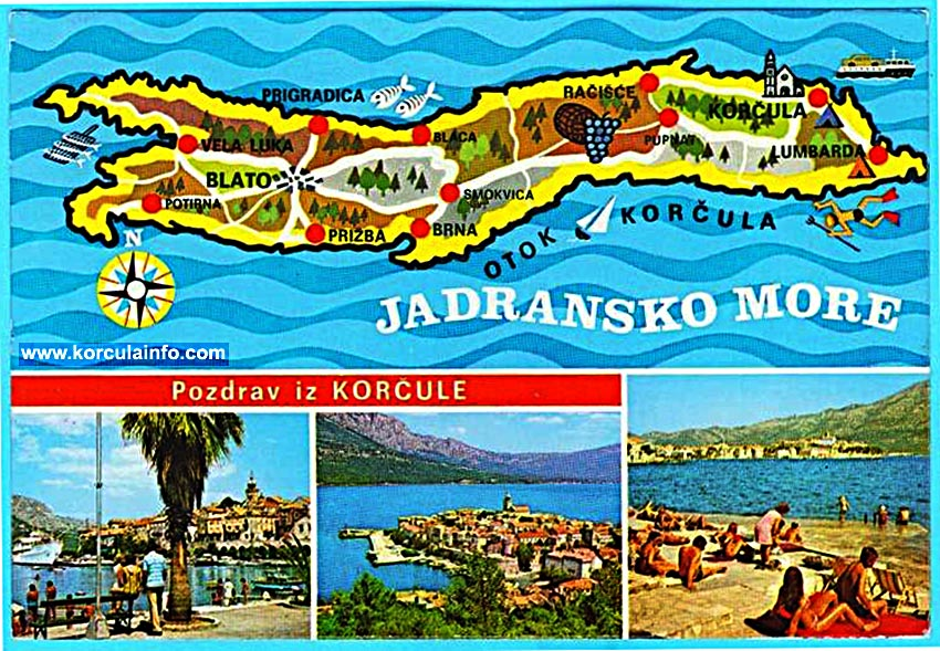 Map of Korcula Island from 1970s