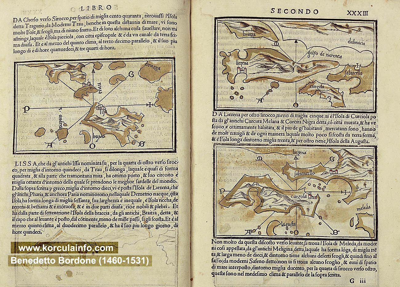 Map of Korcula and neighbouring islands (print 1534)