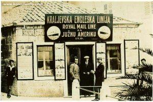 Travel agency in Korcula in 1930s - Kraljevska Engleska Linija - Royal Mail Line for South America