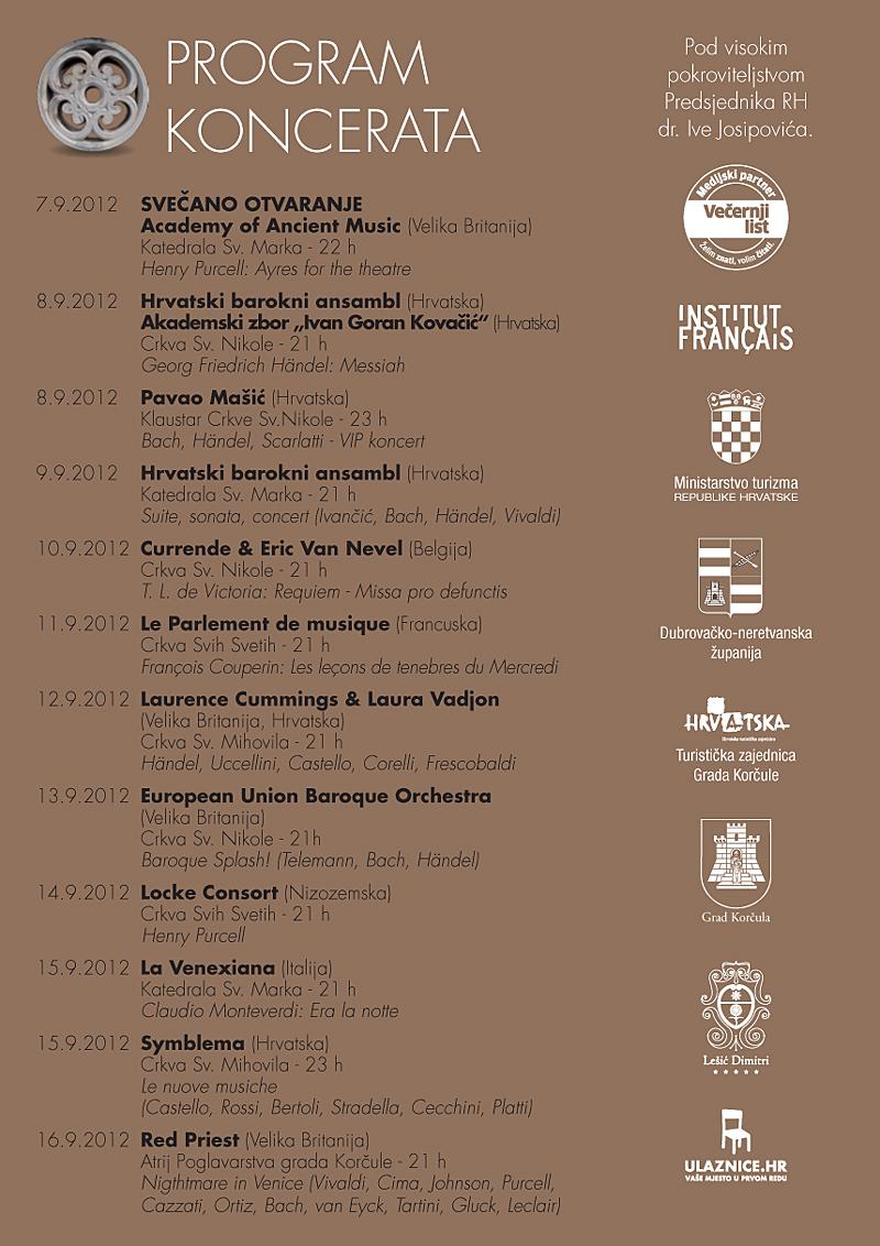 Korkyra Baroque Festival 2012 - Programme