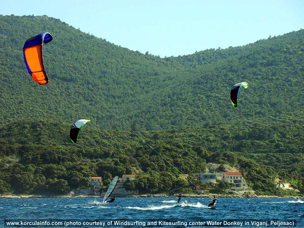 Kitesurfers in Korcula waters