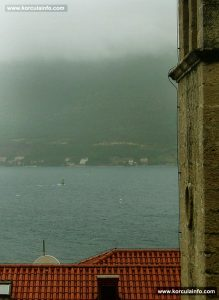 Windsurfing on rainy day in Korcula