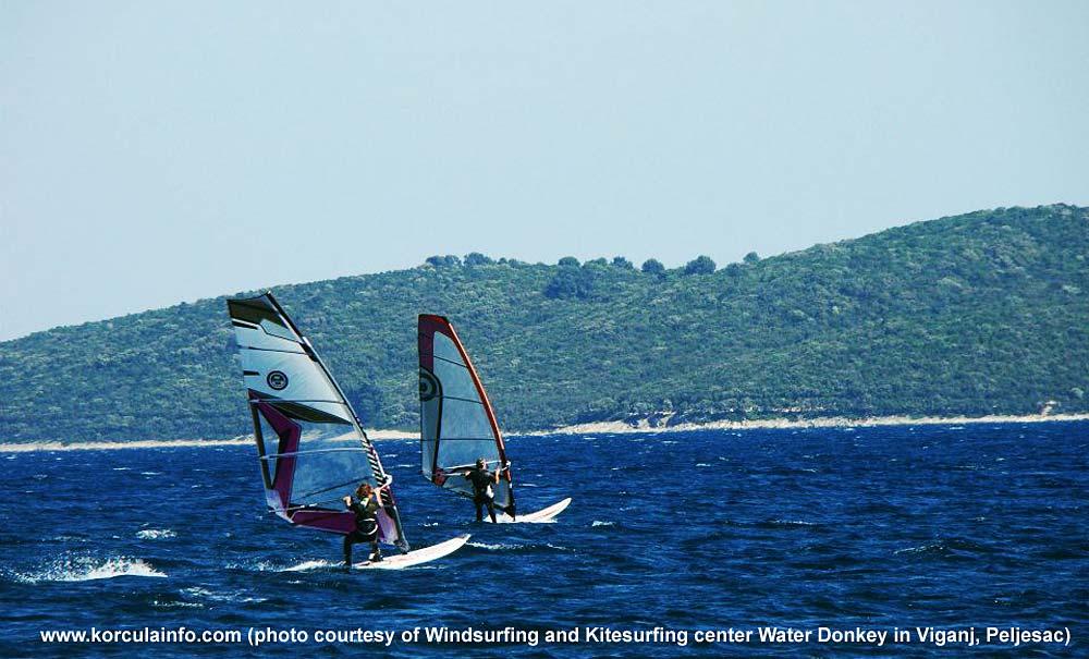 Pair of Windsurfers in Korcula waters