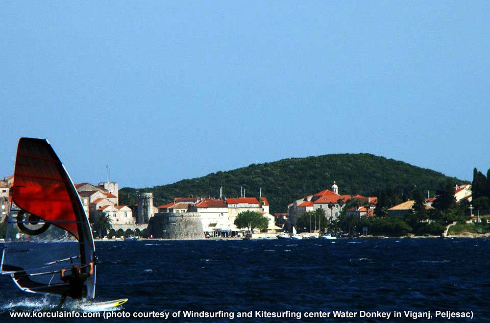 Windsurfer in front of Korcula Old Town