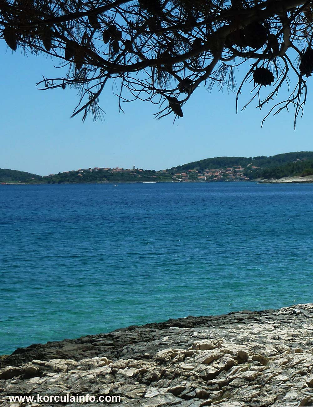 Views of Lumbarda from Badija Beach