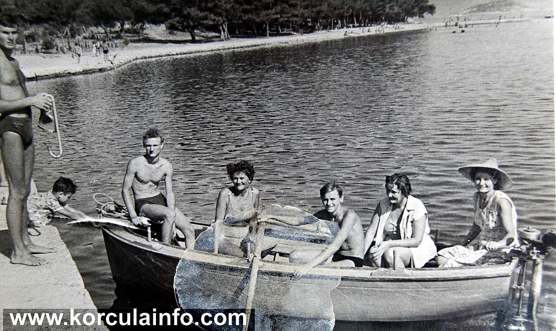 Beach at Badija in 1960s - arrival to Badija island by boat