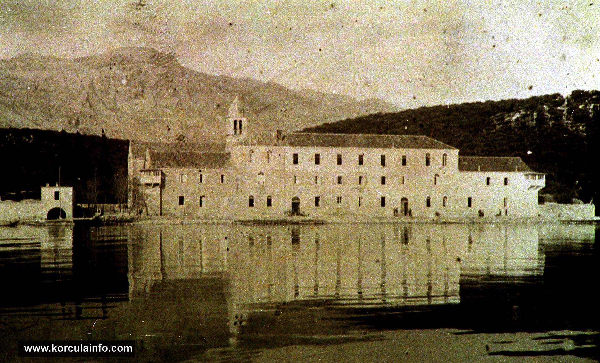 South Facade of Badija Monastery in 1920s - the top floor of the Monastery is already finished