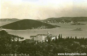 Panorama of Badija Monastery from 1920s - with Planjak, Baretica, Kamenjak and Vrnik islets in the background