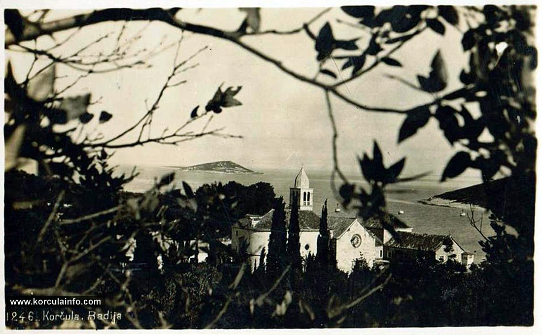 West facade of the Badija Monastery - photo from 1946