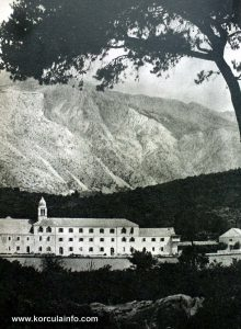 Monastery on Badija Viewed from Baretica Islet - photo from late 1950s