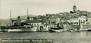 Korcula Port with ship Kumanovo in 1938