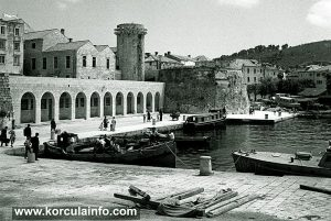 Riva (port ) in Korcula in 1950s
