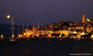Korcula Port in Summer Evening