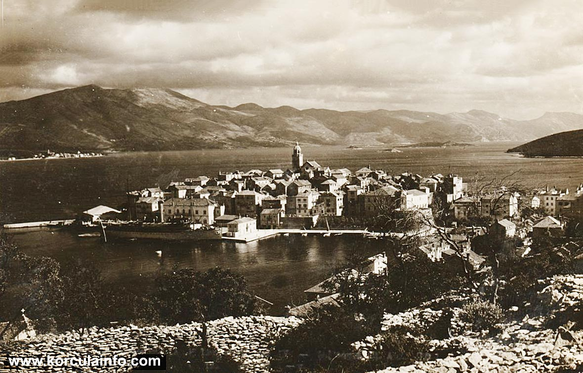 Panorama of Port Riva in Korcula (1920)
