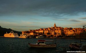 Summer sunset in Korcula Town