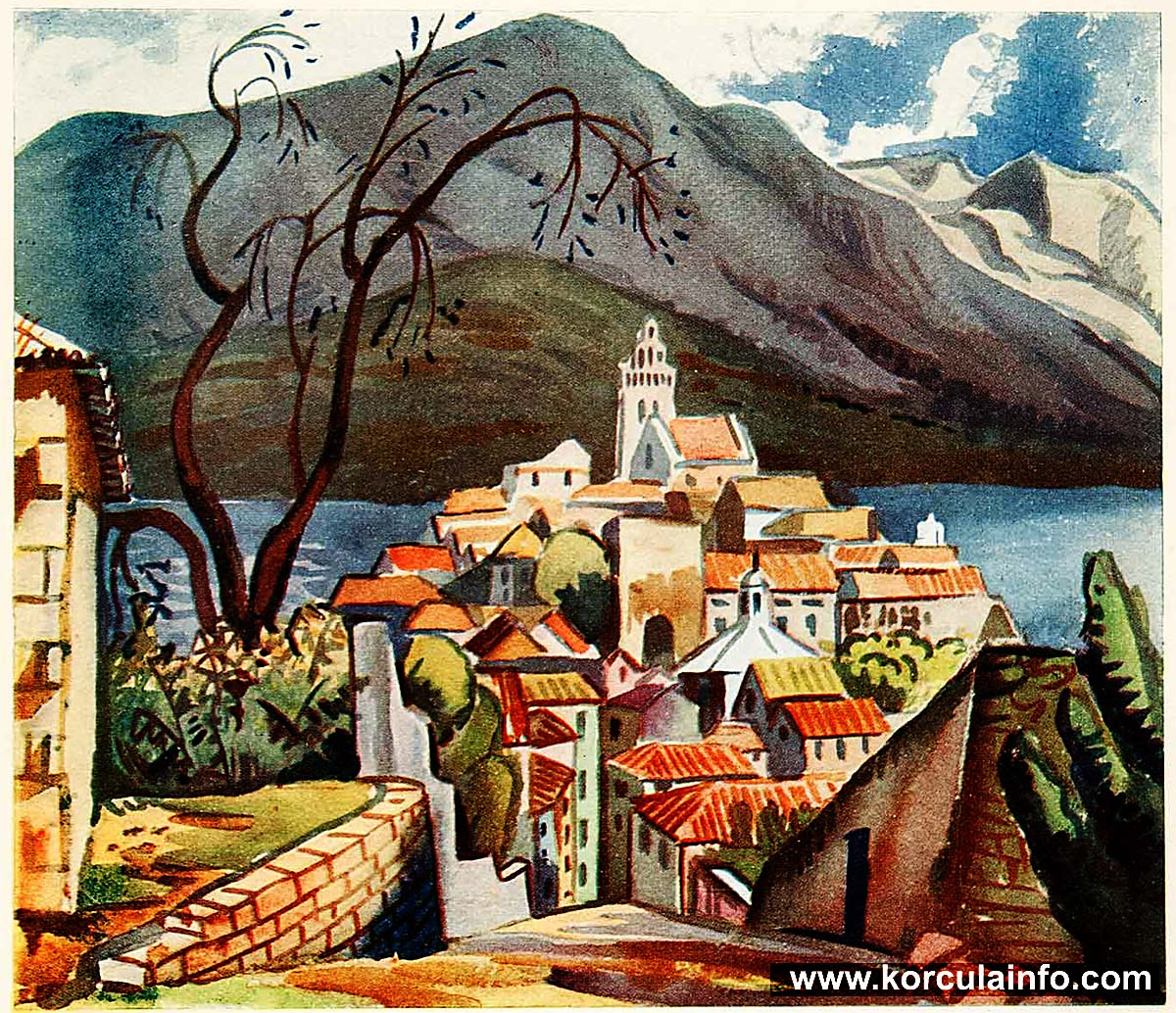 Painting of Korcula by Jan Gordon from 1922