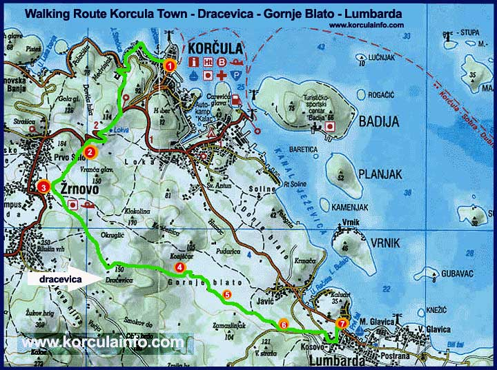 map-Walking-Route-Korcula-Dracevica-Lumbarda