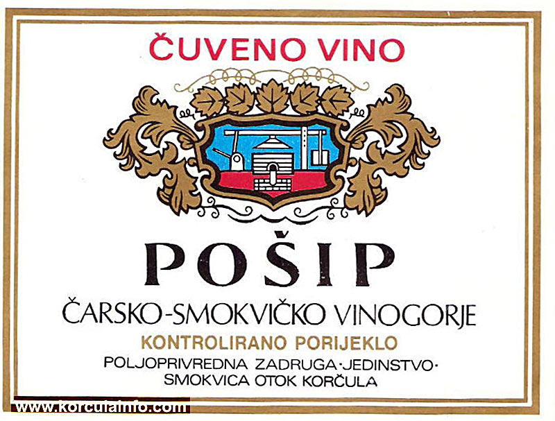 Pošip old wine label (1970s)