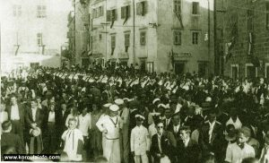 Religious procession on Plokata Square, Korcula in 1934