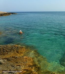 Swimming at Raznjic Beach, Lumbarda Korcula island