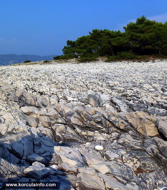 Raznjic Beach - rocky landscape, Korcula island