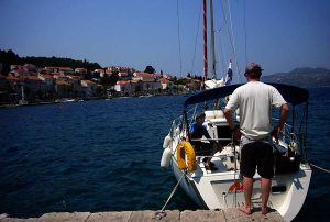 Sailing boats in Korcula harbour