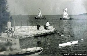 Sailing boats in Orebic nr Korcula in 1930s